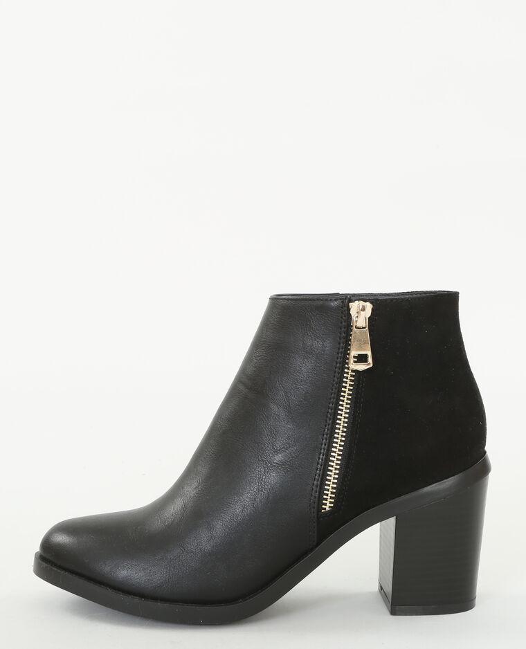 Boots Bi MatièRe Noir Et Gris Noir Et Gris