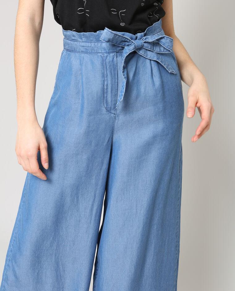 Pantalon fluide large bleu denim