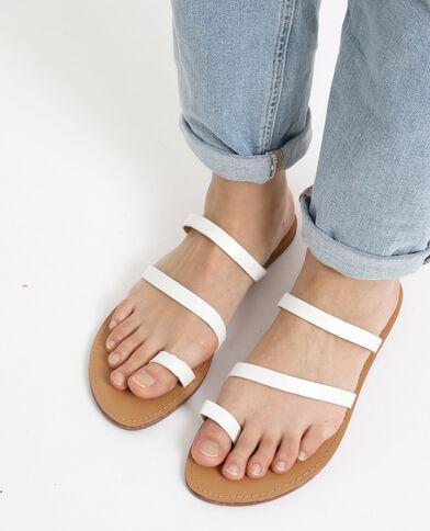 Sandales plates en simili cuir blanc