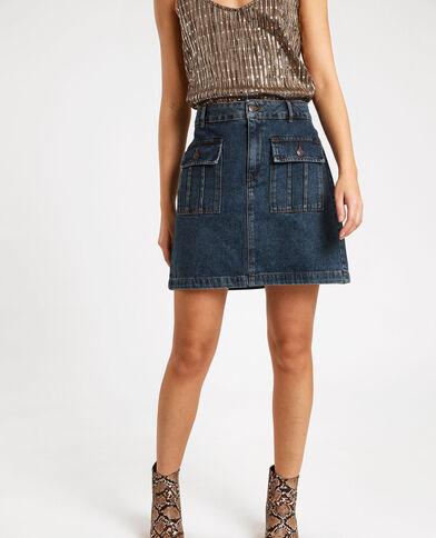 Jupe courte en jean bleu brut