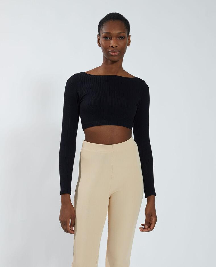 T-shirt cropped sans coutures noir - Pimkie