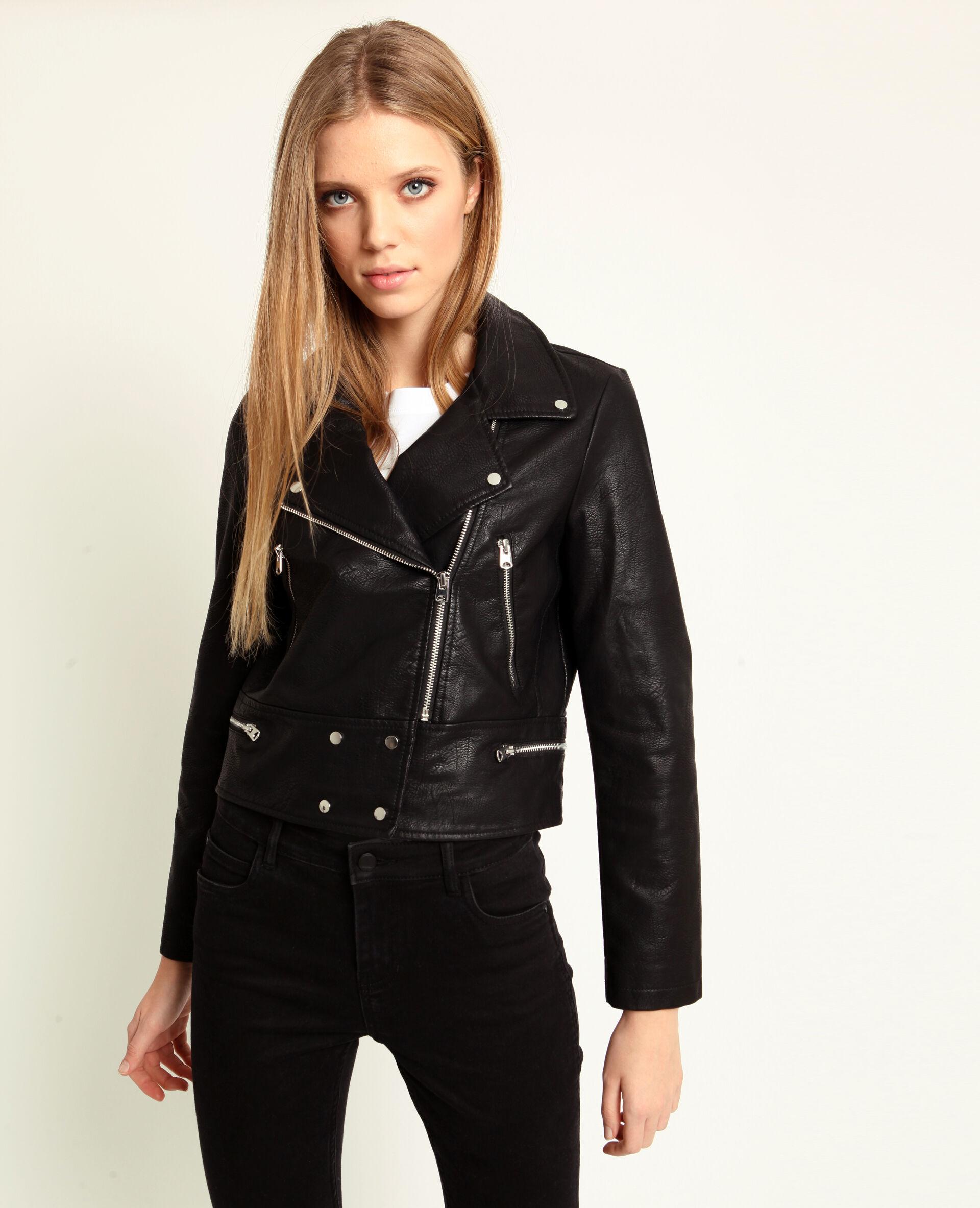 Veste en simili cuir noire femme