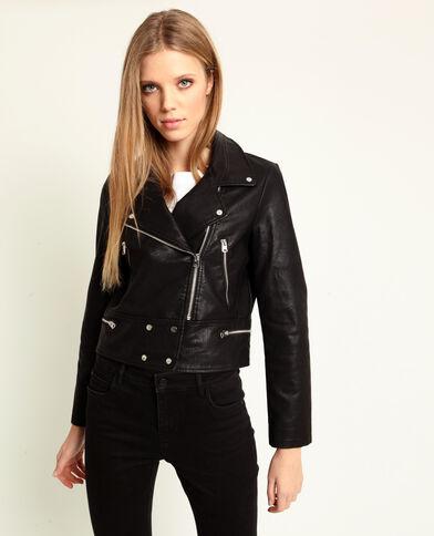 Veste biker en faux cuir noir b2abce31b82