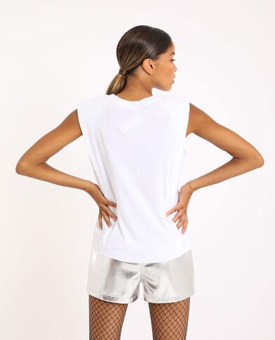 T-shirt à épaulettes blanc