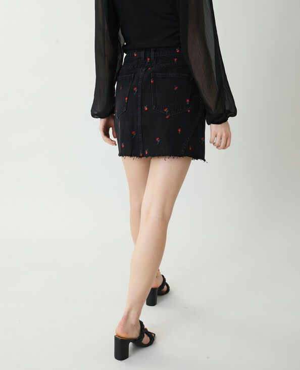 Jupe en jean à fleurs noir - Pimkie