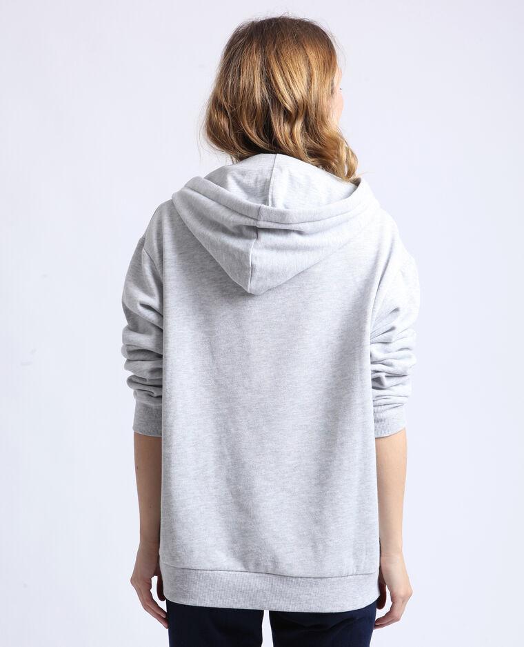 Sweat à capuche coloré gris chiné