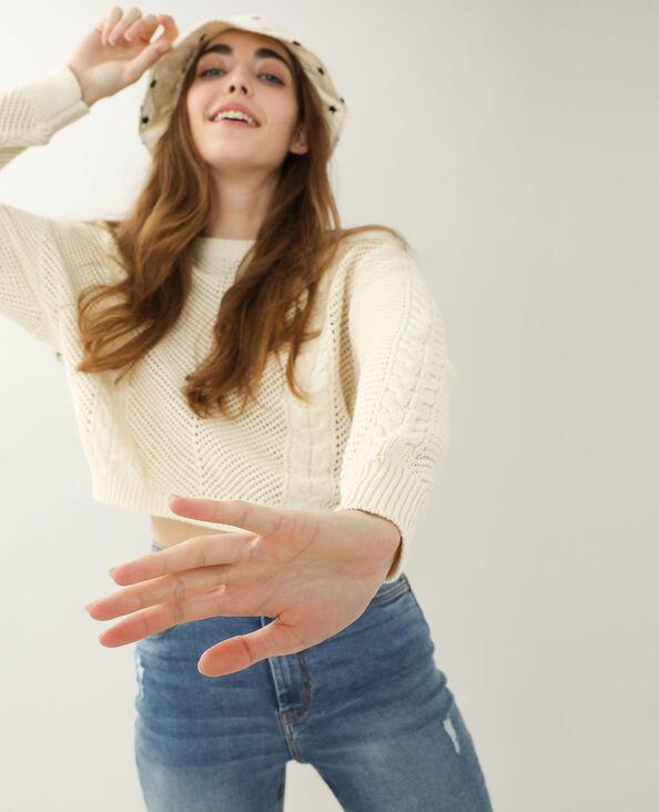 Pull en crochet blanc cassé - Pimkie