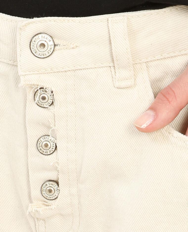 Short en jean taille haute blanc cassé