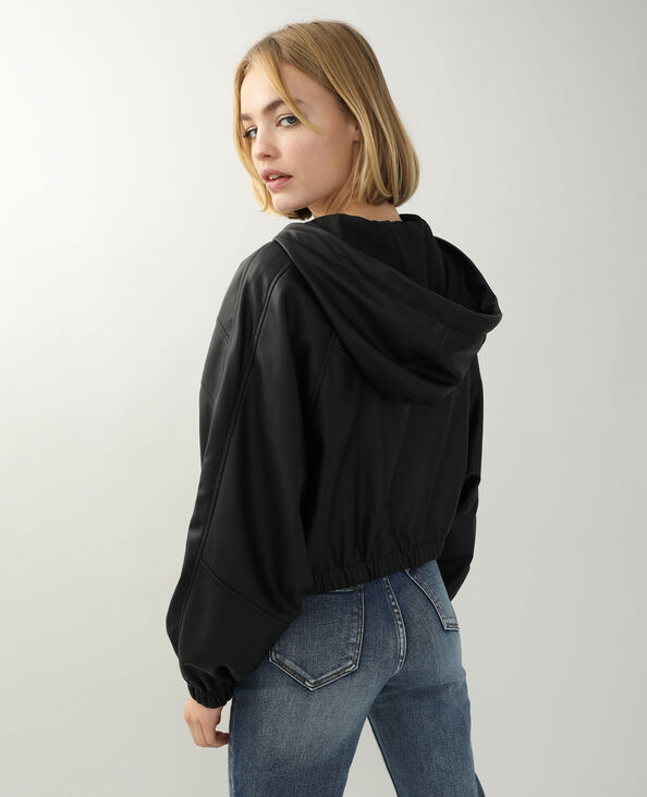 Veste à capuche simili cuir noir