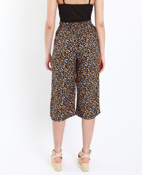 7725d7605ea Jupe culotte à fleurs noir