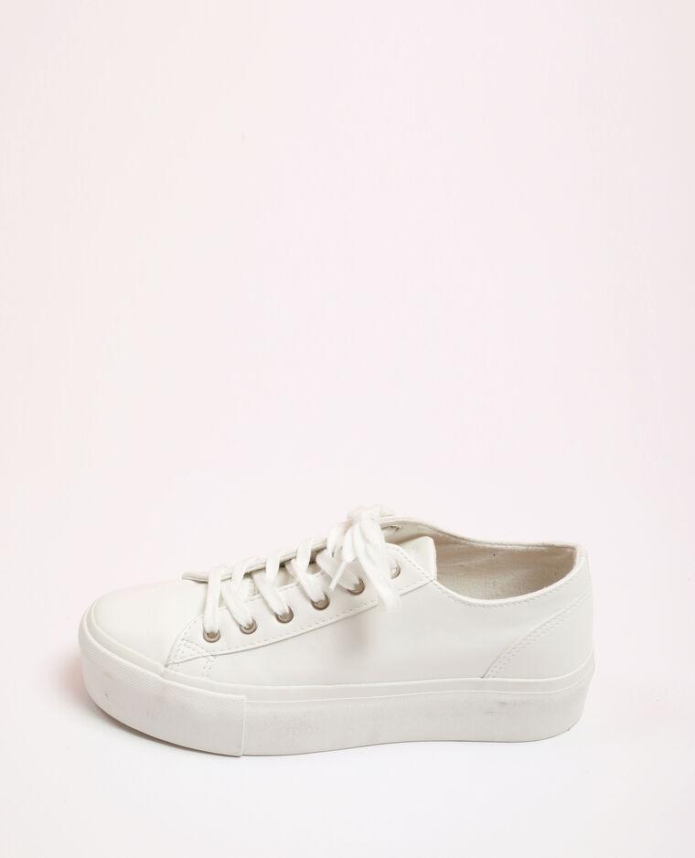 Baskets en faux cuir blanc - Pimkie
