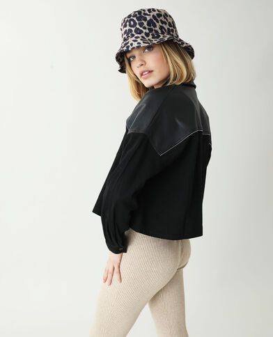 Chemise oversize en jean avec simili cuir noir - Pimkie