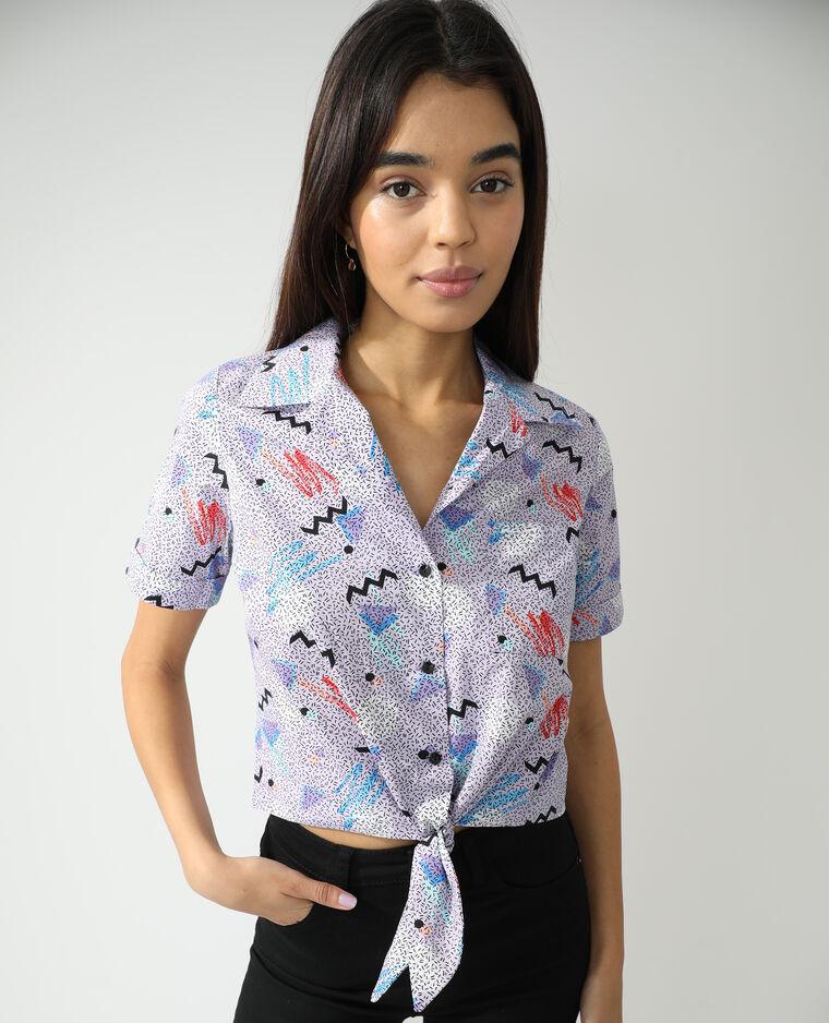 Chemise à nouer fantaisie bleu - Pimkie