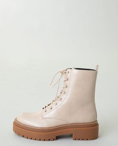 Boots rock simili cuir beige