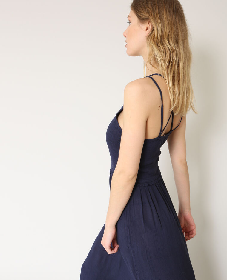 c52e616d176 Robe longue à fines bretelles bleu marine - 780871635A06