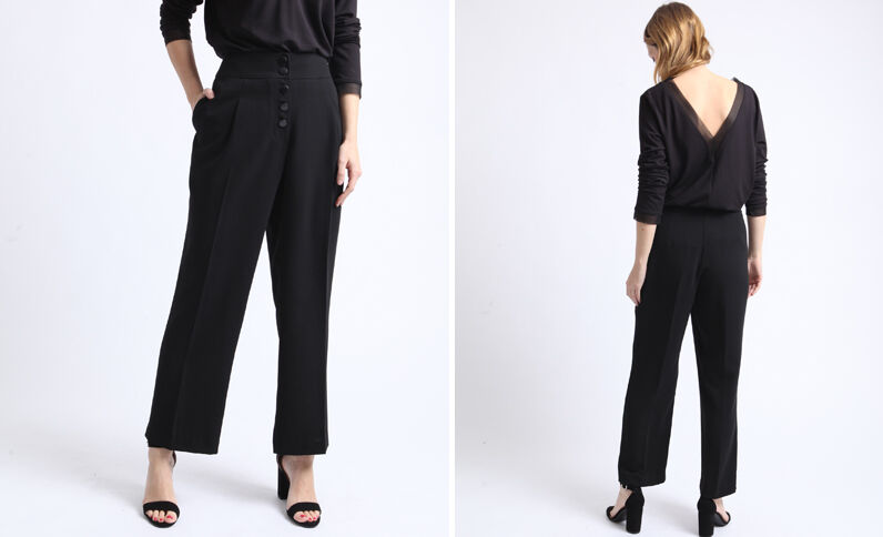 Pantalon wide leg noir
