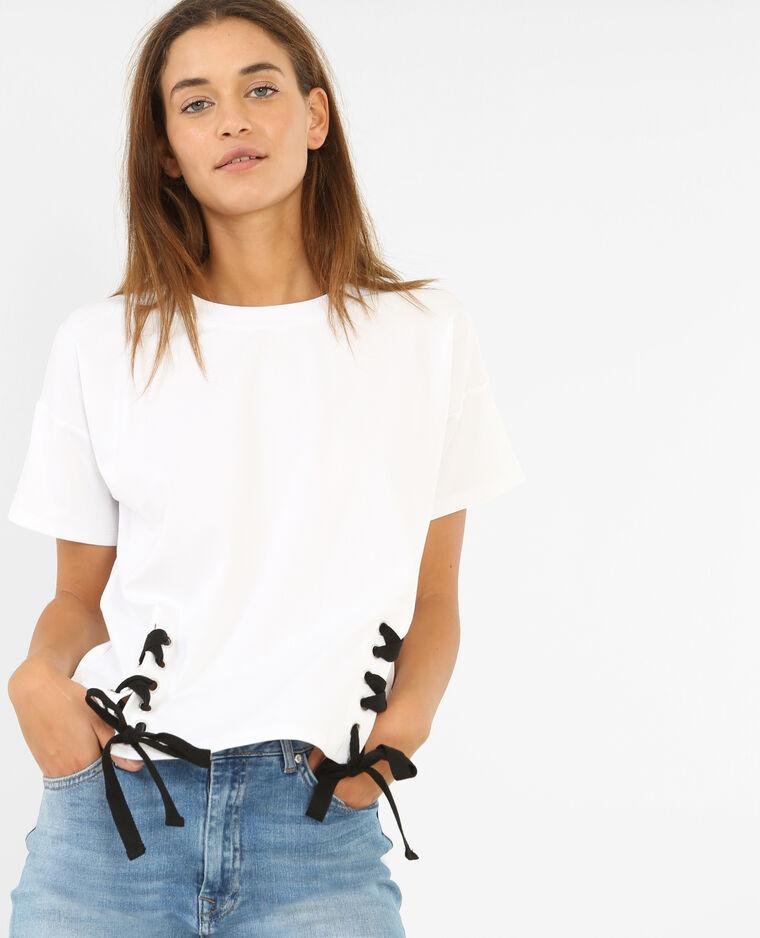 T-shirt à lacets blanc