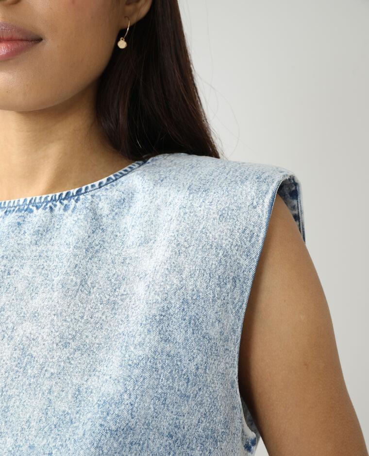 Top en jean à épaulettes bleu clair - Pimkie