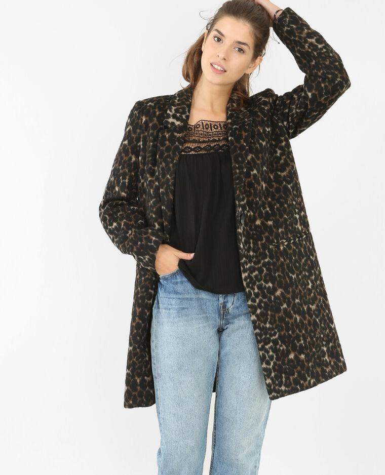 0e7122fc86d4d Manteau drap de laine léopard noir - 281071899I07   Pimkie