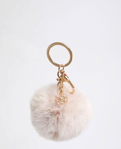 Porte-clés pompon beige