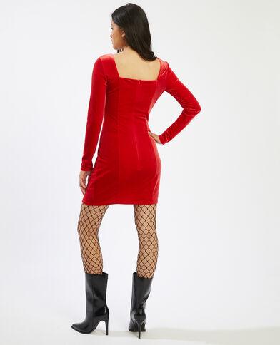 Robe velours à manches longues rouge - Pimkie