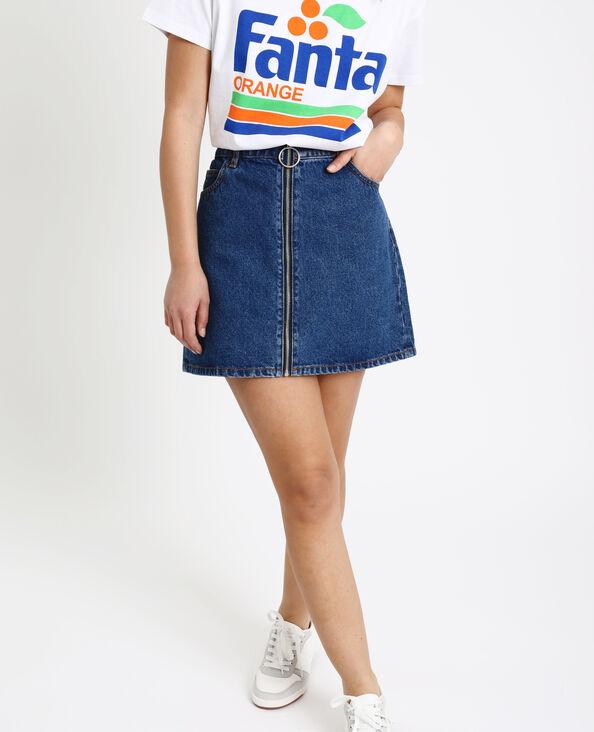 3edaaeb2294 Jupe en jean zippée bleu brut