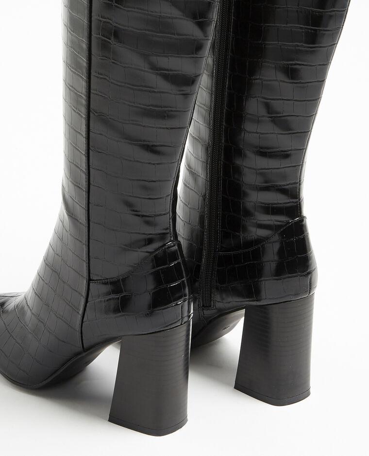 Bottes hautes croco noir