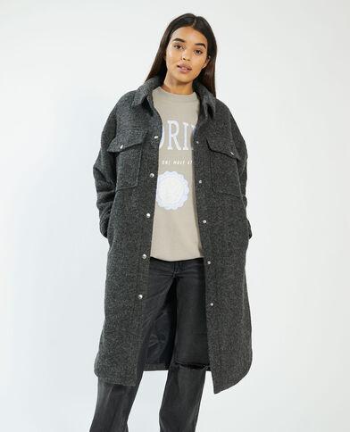 Manteau long oversize noir - Pimkie