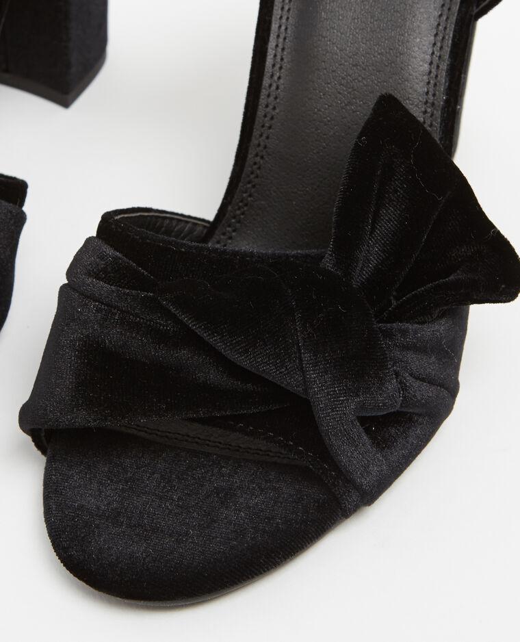 Sandales effet velours noir - Pimkie