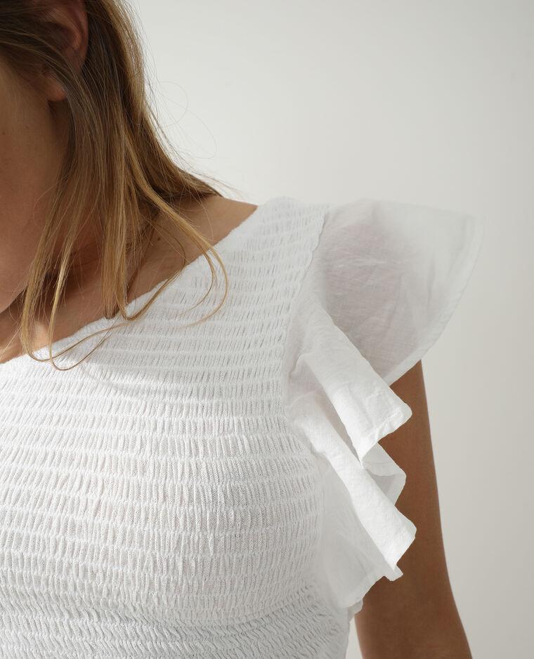 Top one shoulder smocké blanc - Pimkie