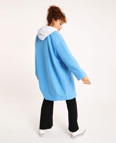 Manteau maille bouclette bleu