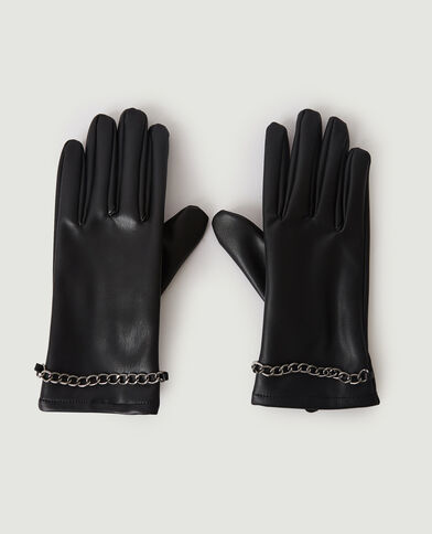 Paire de gants en simili cuir avec chaîne noir - Pimkie