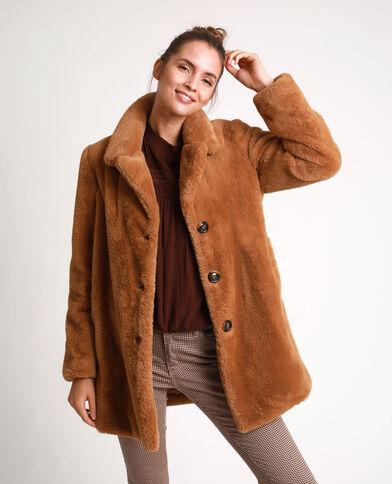 Manteau en fausse fourrure marron - Pimkie