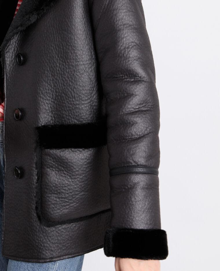 Manteau imitation mouton noir
