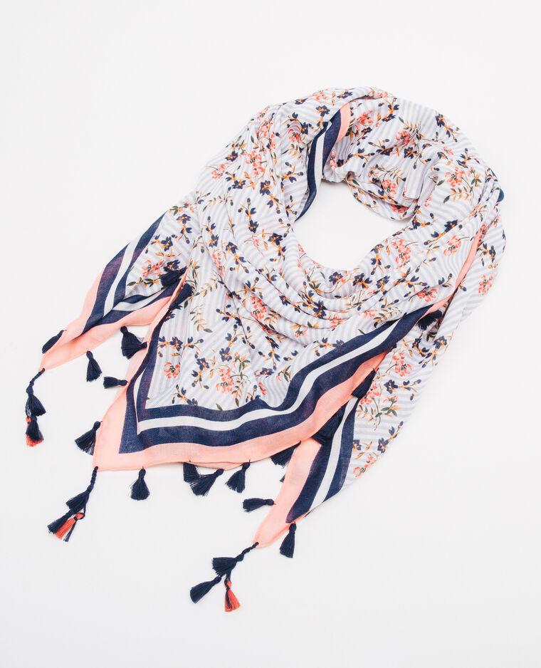 Foulard rayures et fleurs bleu