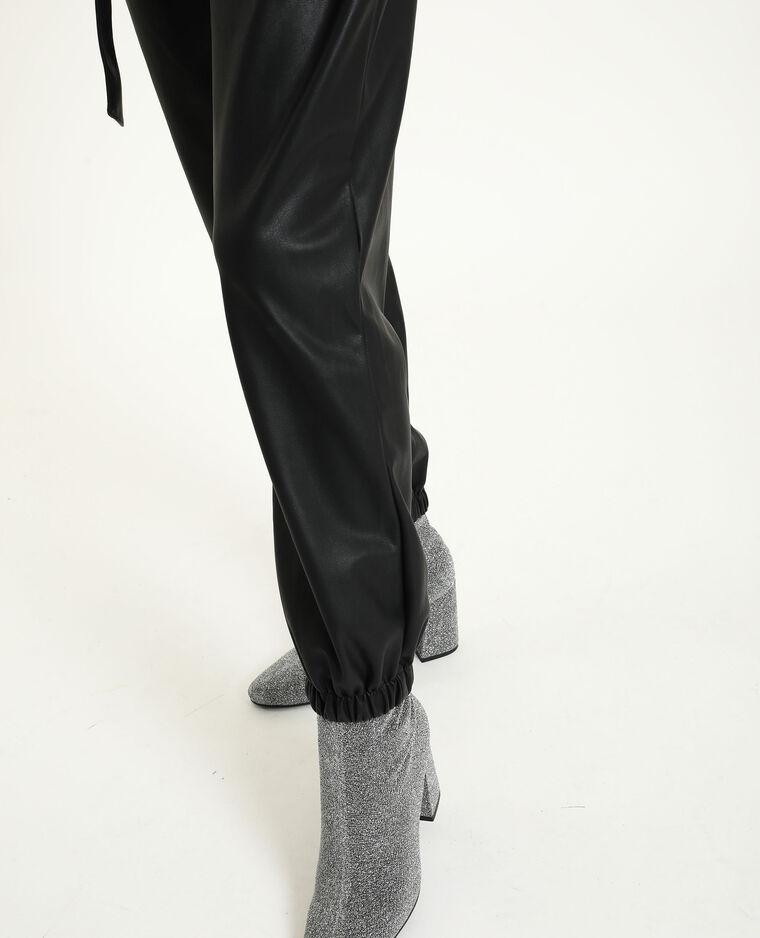 Combipantalon en simili cuir noir