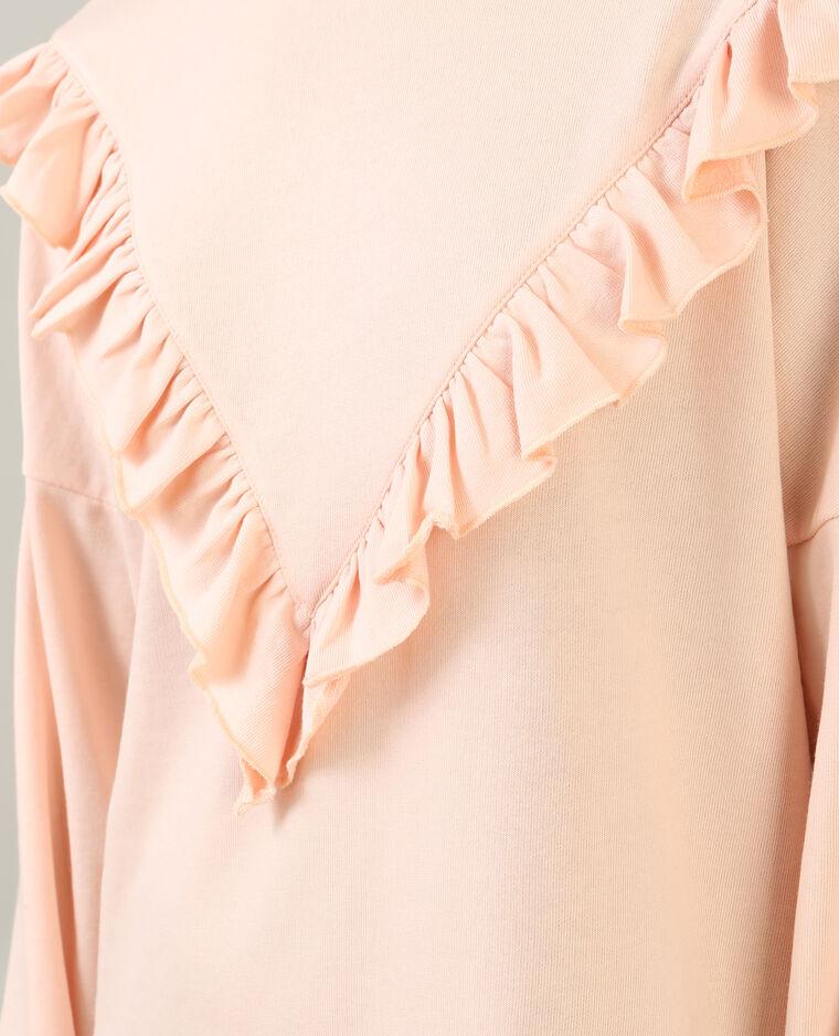 Robe sweat à volants rose