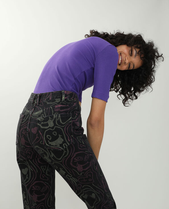 T-shirt côtelé violet