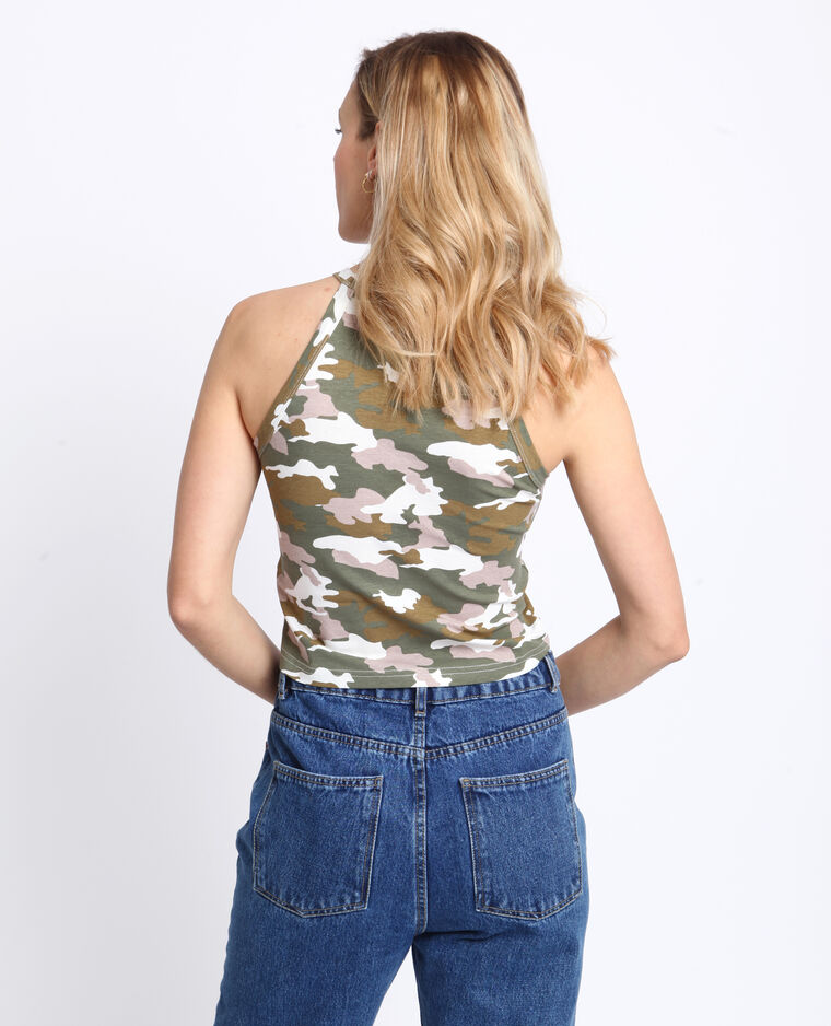 Cropped top camouflage kaki