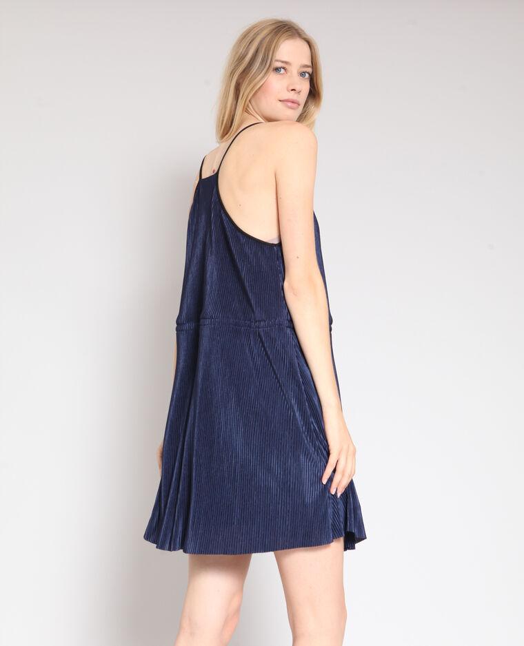 Robe plissée bleu marine