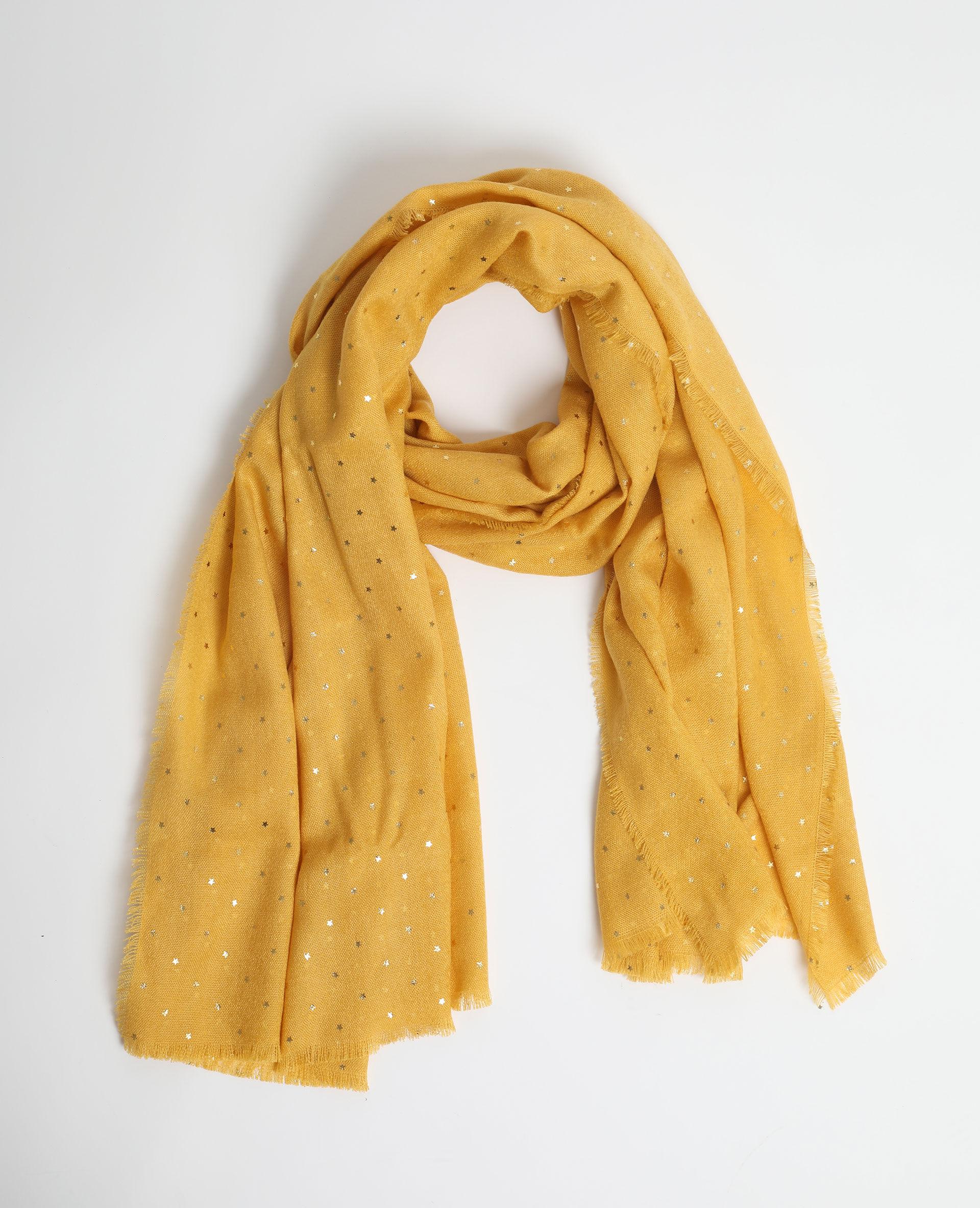 Léger écharpe jaune moutarde avec papillon design
