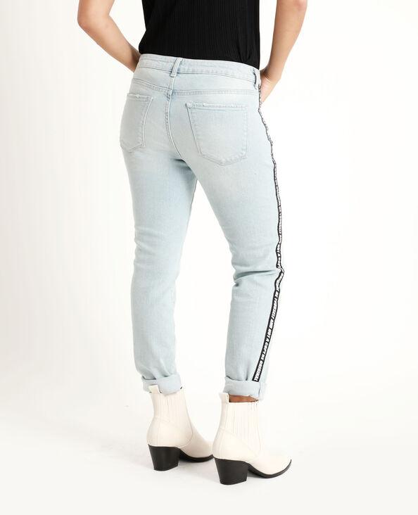 Jean skinny à bandes bleu délavé