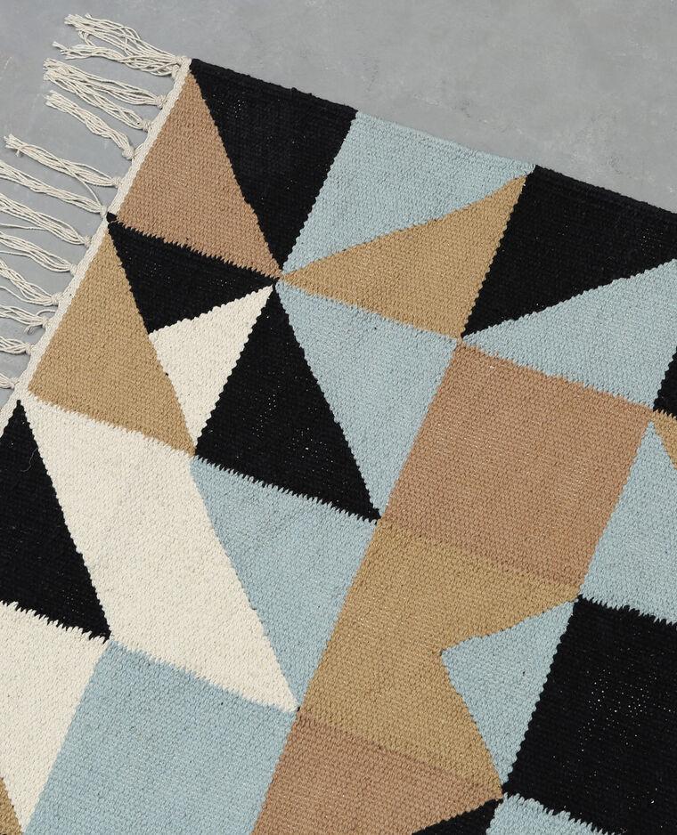Tapis coton motif losanges écru