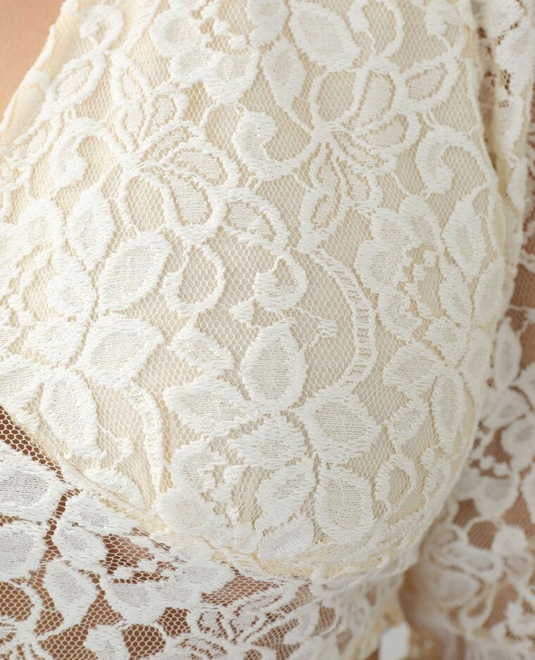 Gilet cropped en guipure blanc cassé - Pimkie