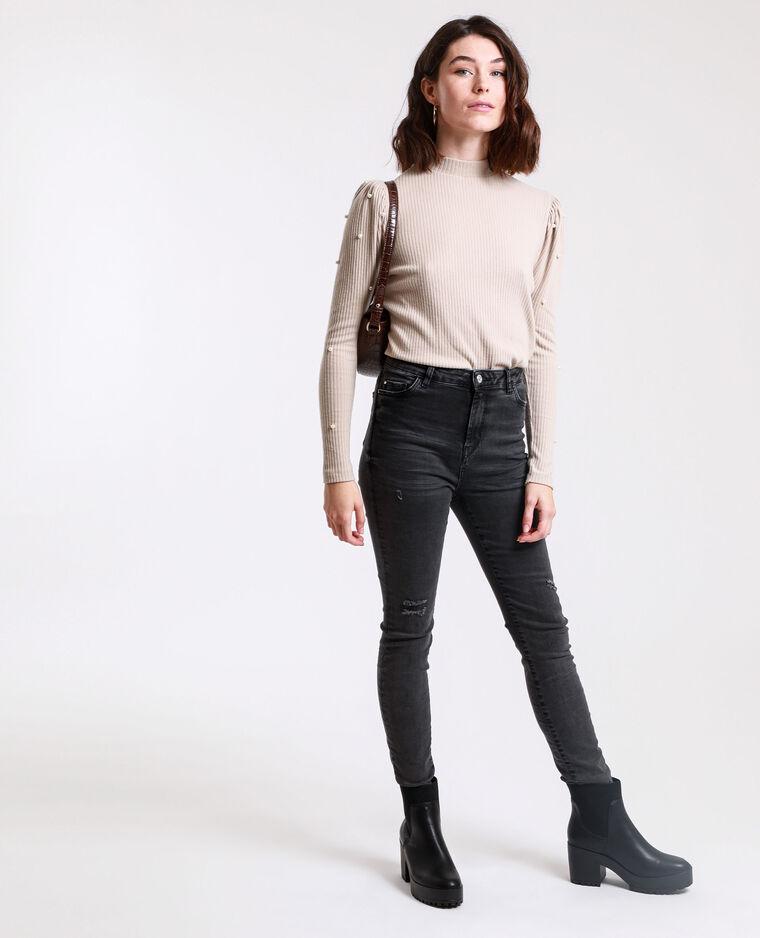 Jean skinny high waist gris usé - Pimkie
