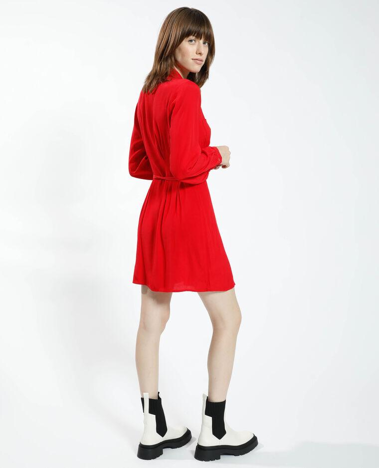 Robe chemise à nouer rouge - Pimkie
