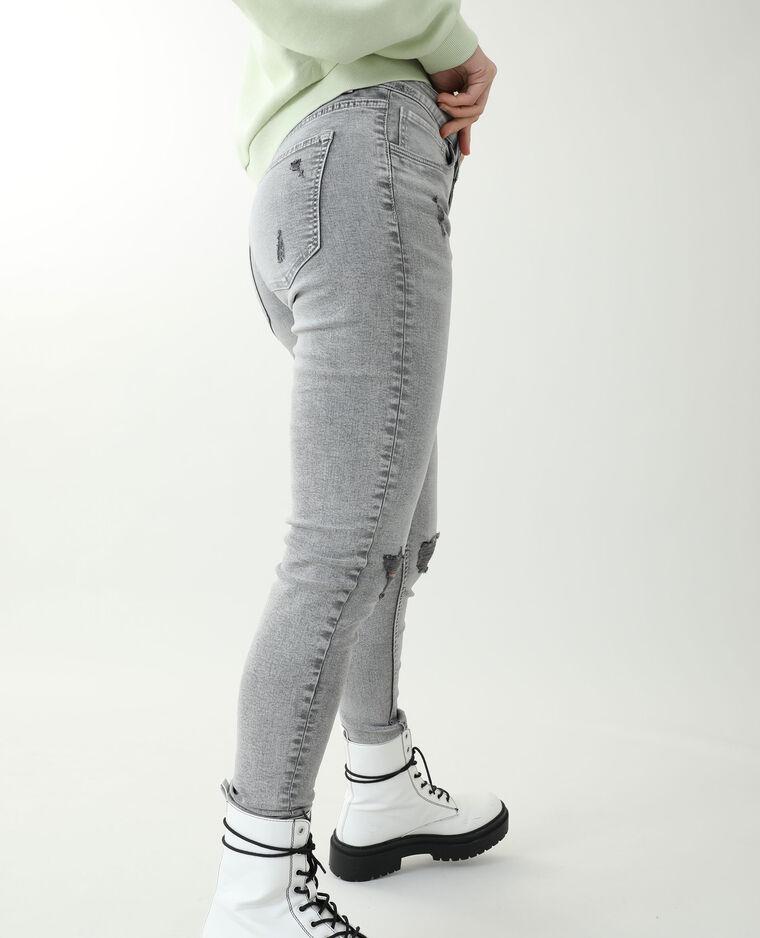 Jean skinny trashé gris - Pimkie