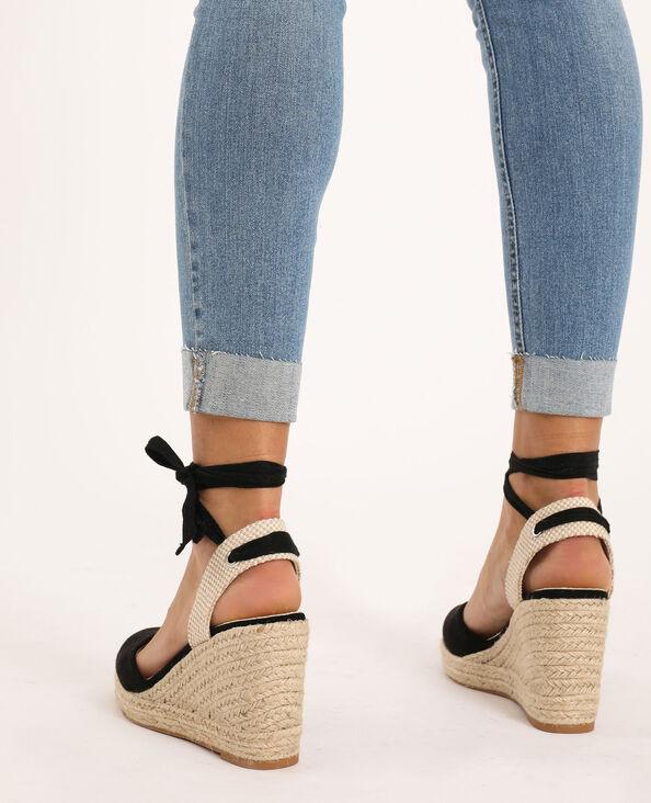 Sandales compensées en paille noir