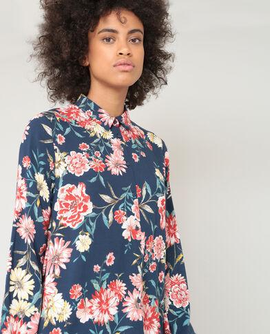 Robe chemise fleurie bleu marine