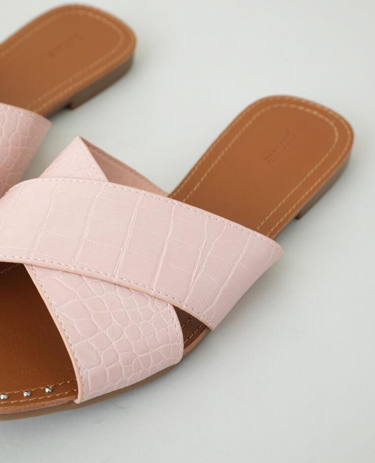 Mules effet croco rose nude - Pimkie